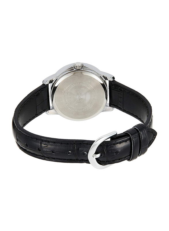 Casio Analog Watch for Women with Leather Band, Water Resistance, LTP-V004L-7A, Black-Silver