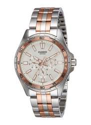 Casio Enticer Analog Watch for Men with Stainless Steel Band, Water Resistant and Chronograph, MTD-300RG-7AVDF, Silver/Rose Gold-White