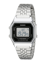 Casio Digital Quartz Watch for Women with Stainless Steel Band, Water Resistance, LA680WA-1DF, Silver-Black
