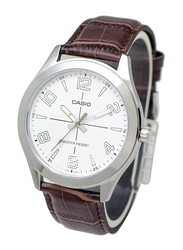 Casio Analog Watch for Men with Leather Band, Water Resistant, MTP-VX01L-7B, Brown-White