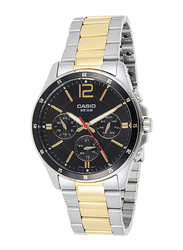 Casio Analog Watch for Men with Stainless Steel Band, Water Resistant and Chronograph, MTP-1374SG-1AVDF, Gold/Silver-Black