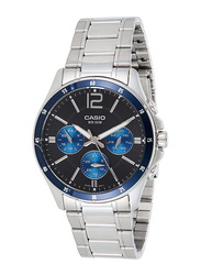 Casio Analog Quartz Watch for Men with Stainless Steel Band, Water Resistant and Chronograph, MTP-1374D-2AVDF, Silver-Black
