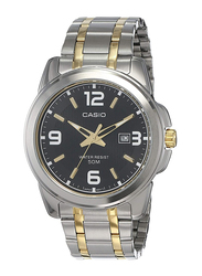 Casio Analog Watch for Men with Stainless Steel Band, Water Resistance, MTP-1314SG-1AVDF, Silver-Black