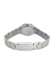 Casio Analog Watch for Women with Stainless Steel Band, Water Resistance, LTP-1242SG-7, Silver-White