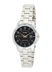 Casio Analog Watch for Women with Stainless Steel Band, Water Resistance, LTP-V004D-1B, Silver-Black