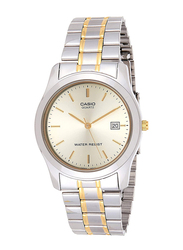 Casio Analog Watch for Men with Stainless Steel Band, Water Resistance, MTP-1141G-9A, Silver-Gold