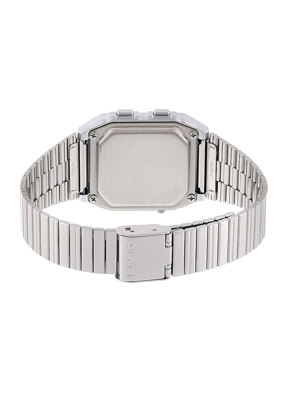 Casio Digital Watch Unisex with Stainless Steel Band, Water Resistant, DB-380-1DF, Silver-Grey