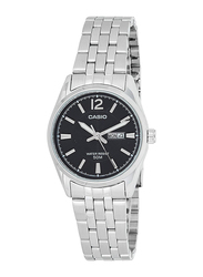 Casio Analog Watch for Women with Stainless Steel Band, Water Resistance, LTP-1335D-1AVDF, Silver-Black