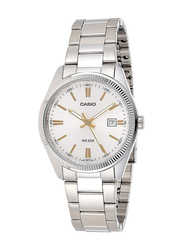 Casio Analog Quartz Watch for Men with Stainless Steel Band, Water Resistance, MTP-1302D-7A1VE, Silver-White