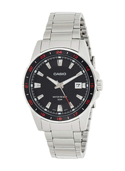 Casio Analog Watch for Men with Stainless Steel Band, Water Resistance, MTP-1290D-1A1VDF, Silver-Black