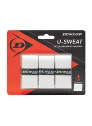 Dunlop 12BL U-Sweat Tennis Racket Over grip, DL613269, 3 Pieces, White