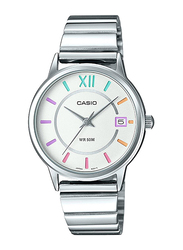 Casio Analog Watch for Men with Stainless Steel Band, Water Resistance, LTP-E134D-7BVDF, Silver-White