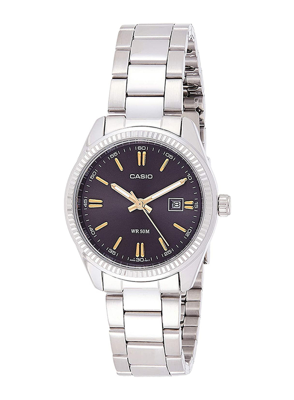 Casio Analog Watch for Women with Stainless Steel Band, Water Resistance, LTP-1302D-1A2VDF, Silver-Black