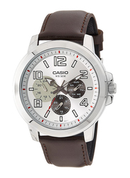 Casio Analog Watch for Men with Leather Band, Water Resistant and Chronograph, MTP-X300L-7AVDF, Brown-Silver