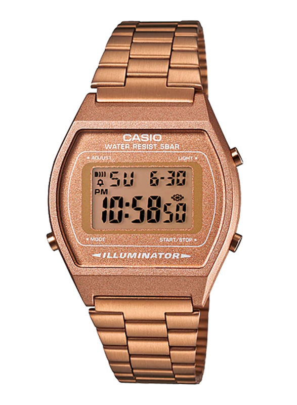 Casio B640WC-5ADF Digital Watch for Unisex with Stainless Steel Band, Water Resistant and Chronograph, Pink-Multicolour