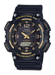 Casio AQ-S810W-1A3VDF Analog/Digital Watch for Unisex with Resin Band, Water Resistant and Chronograph, Black-Multicolour
