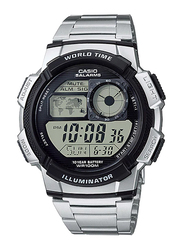 Casio AE-1000WD-1AVDF Digital Watch for Men with Stainless Steel Band, Water Resistant and Chronograph, Silver-Grey