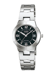 Casio LTP-1241D-1ADF Analog Watch for Women with Stainless Steel Band, Water Resistant, Silver-Black
