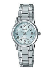 Casio LTP-V002D-2BUDF Analog Watch for Women with Stainless Steel Band, Water Resistant, Silver-Alice Blue