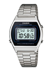 Casio B640WD-1AVDF Digital Watch for Unisex with Stainless Steel Band, Water Resistant and Chronograph, White-Multicolour