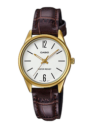 Casio LTP-V005GL-7BUDF Analog Watch for Women with PU Leather Band, Water Resistant, Brown-White