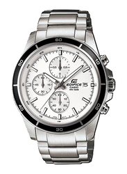 Casio Edifice Analog Watch for Men With Stainless Steel Band, Water Resistant and Chronograph, EFR-526D-7AVUDF, Silver-White