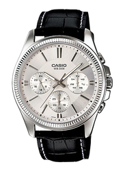 Casio MTP-1375L-7AVDF Analog Watch for Men with Genuine Leather Band, Water Resistant and Chronograph, Black-Silver