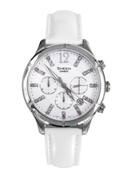 Casio Sheen Analog Watch for Women With Genuine Leather Band, Water Resistant and Chronograph, SHE-5020L-7ADR, White