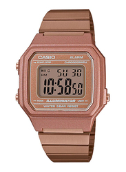 Casio B650WC-5ADF Digital Watch for Unisex with Stainless Steel Band, Water Resistant and Chronograph, Pink-Multicolour