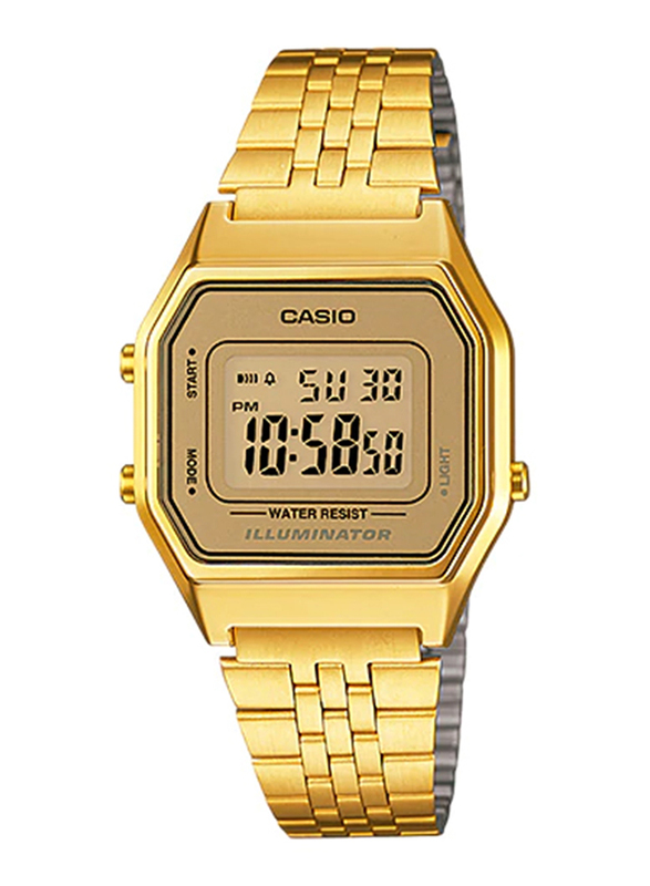Casio LA680WGA-9DF Digital Watch for Unisex with Stainless Steel Band, Water Resistant and Chronograph, Gold-Peach