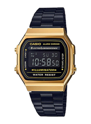 Casio A168WEGB-1BDF Digital Watch for Unisex with Stainless Steel Band, Water Resistant and Chronograph, Black-Multicolour