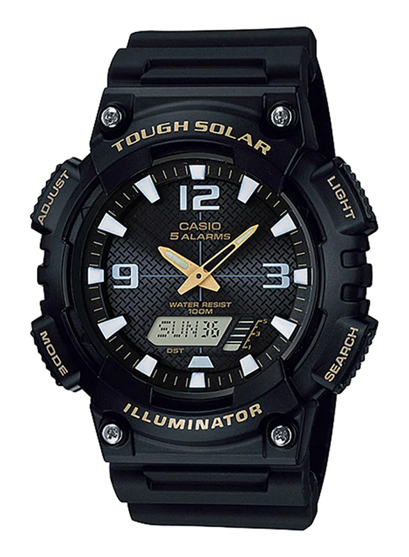 Casio AQ-S810W-1BVDF Analog/Digital Watch for Unisex with Resin Band, Water Resistant and Chronograph, Black-Gold