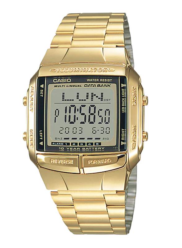 Casio DB-360G-9ADF Digital Watch for Unisex with Stainless Steel Band, Water Resistant and Chronograph, Gold-Multicolour
