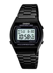 Casio B640WB-1ADF Digital Watch for Unisex with Stainless Steel Band, Water Resistant and Chronograph, Black-Multicolour