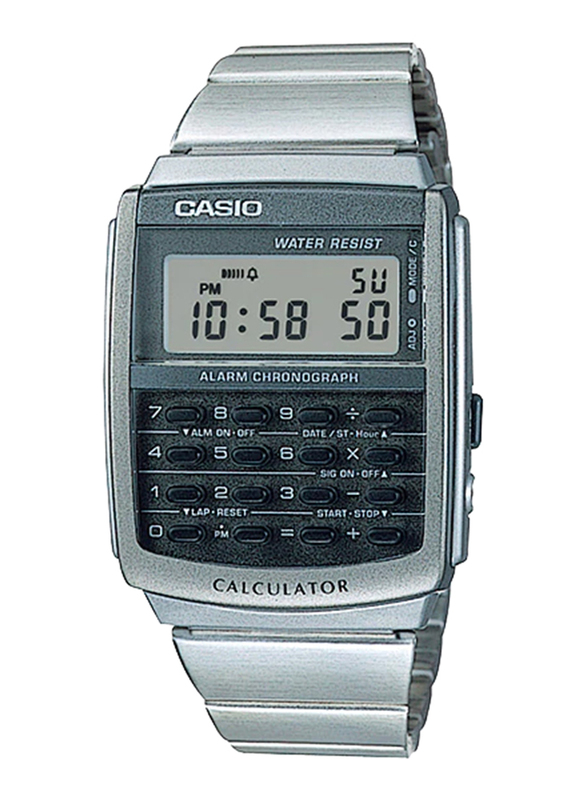 Casio CA-506-1DF Digital Watch for Unisex with Stainless Steel Band, Water Resistant and Chronograph, Silver-Multicolour