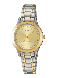 Casio LTP-1128G-9ARDF Analog Watch for Unisex with Stainless Steel Band, Water Resistant, Silver-Gold