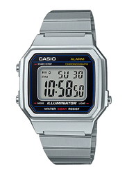 Casio B650WD-1ADF Digital Watch for Unisex with Stainless Steel Band, Water Resistant and Chronograph, White-Multicolour