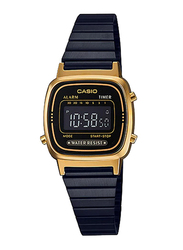 Casio LA670WEGB-1BDF Digital Watch for Unisex with Stainless Steel Band, Water Resistant and Chronograph, Black-Multicolour