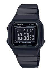 Casio B650WB-1BDF Digital Watch for Unisex with Stainless Steel Band, Water Resistant and Chronograph, Black-Multicolour