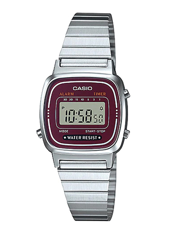 Casio LA670WA-4DF Digital Watch for Unisex with Stainless Steel Band, Water Resistant and Chronograph, Silver-Purple