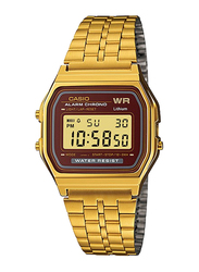 Casio A159WGEA-5DF Digital Watch for Unisex with Stainless Steel Band, Water Resistant and Chronograph, Gold-Maroon