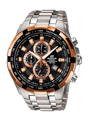 Casio Edifice Analog Watch for Men With Stainless Steel Band, Water Resistant and Chronograph, EF-539D-1A5VUDF, Silver-Orange