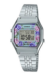 Casio LA680WA-2CDF Digital Watch for Unisex with Stainless Steel Band, Water Resistant and Chronograph, Silver-Multicolour
