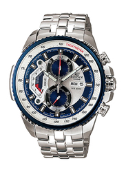 Casio Edifice Analog Watch for Men With Stainless Steel Band, Water Resistant and Chronograph, EF-558D-2AVUDF, Silver-blue