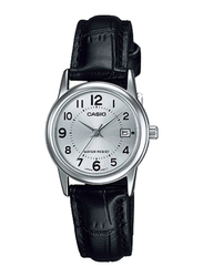 Casio LTP-V002L-7BUDF Analog Watch for Women with PU Leather Band, Water Resistant, Black-Silver