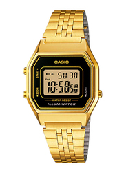 Casio LA680WGA-1DF Digital Watch for Unisex with Stainless Steel Band, Water Resistant and Chronograph, Gold-Multicolour