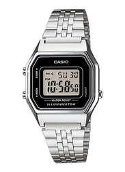 Casio LA680WA-1DF Digital Watch for Unisex with Stainless Steel Band, Water Resistant and Chronograph, Silver-Grey