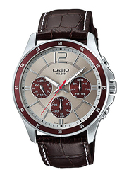 Casio MTP-1374L-7A1VDF Analog Watch for Men with Genuine Leather Band, Water Resistant and Chronograph, Brown-Light Pink