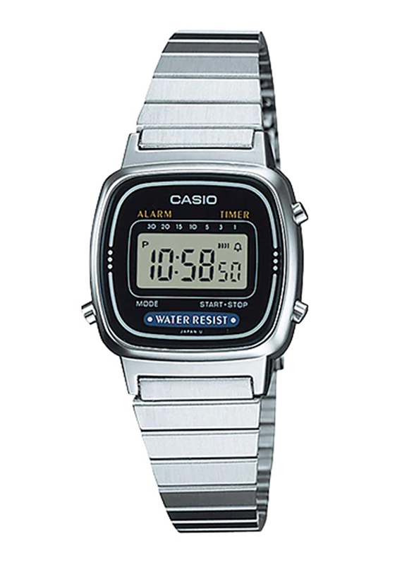 Casio LA670WD-1DF Digital Watch for Unisex with Stainless Steel Band, Water Resistant and Chronograph, Silver-Yellow