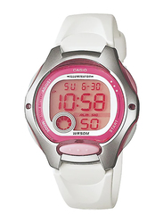 Casio LW-200-7AVDF Digital Watch for Women with Resin Band, Water Resistant and Chronograph, White-Salmon